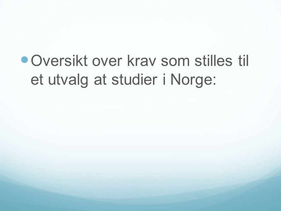 Oversikt over krav som stilles til et utvalg at studier i Norge: