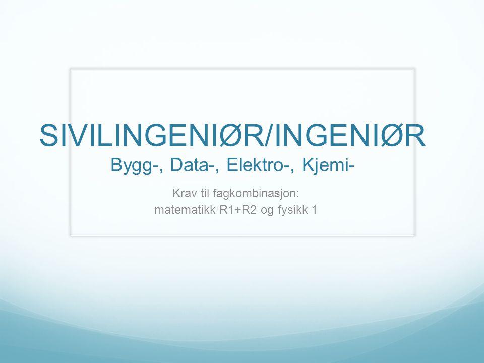 SIVILINGENIØR/INGENIØR Bygg-, Data-, Elektro-, Kjemi-