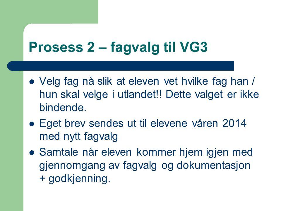Prosess 2 – fagvalg til VG3
