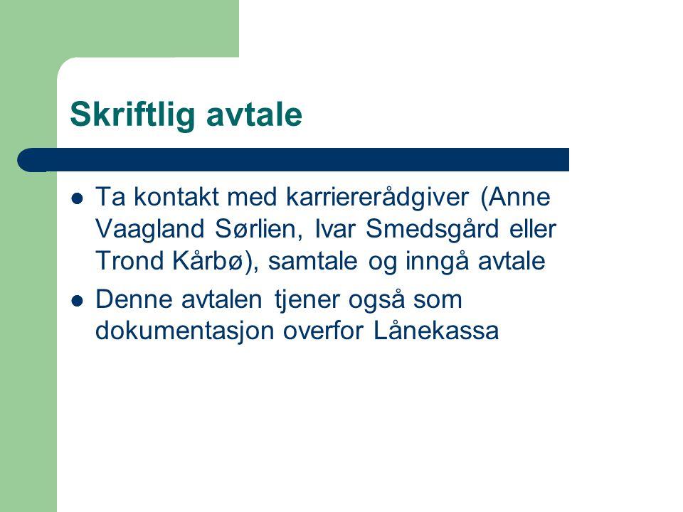 Skriftlig avtale Ta kontakt med karriererådgiver (Anne Vaagland Sørlien, Ivar Smedsgård eller Trond Kårbø), samtale og inngå avtale.
