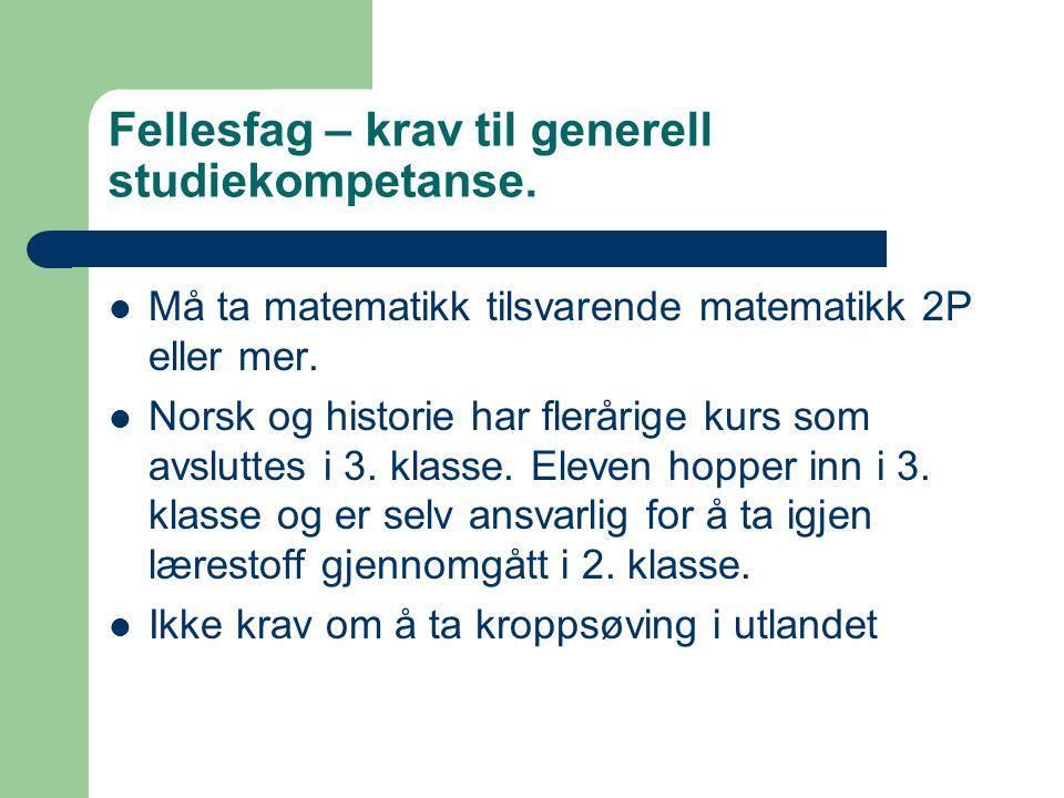 Fellesfag – krav til generell studiekompetanse.