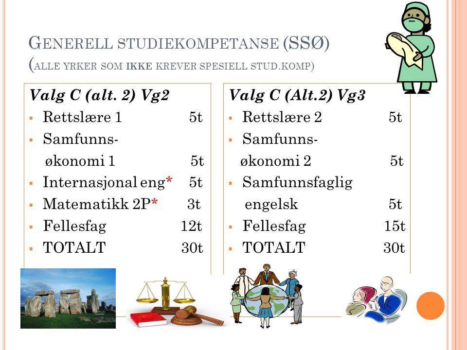 Generell studiekompetanse (SSØ) (alle yrker som ikke krever spesiell stud.komp)