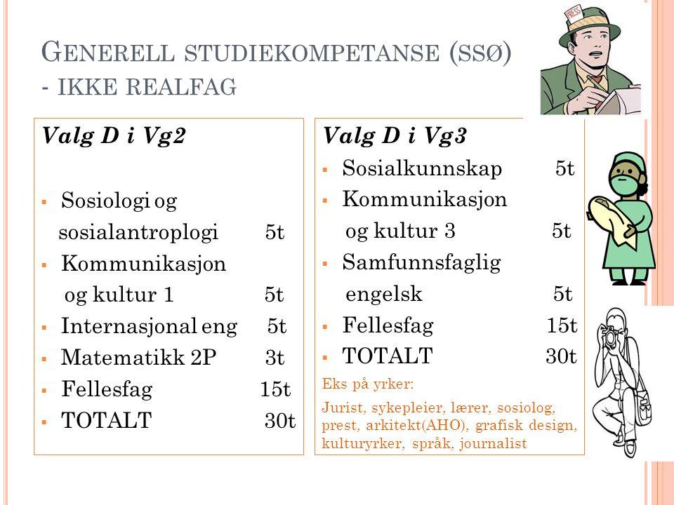 Generell studiekompetanse (ssø) - ikke realfag