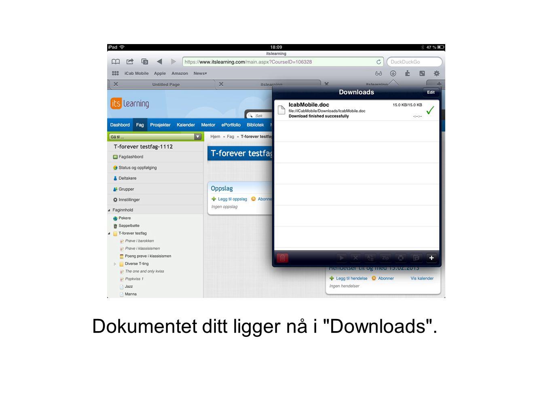 Dokumentet ditt ligger nå i Downloads .