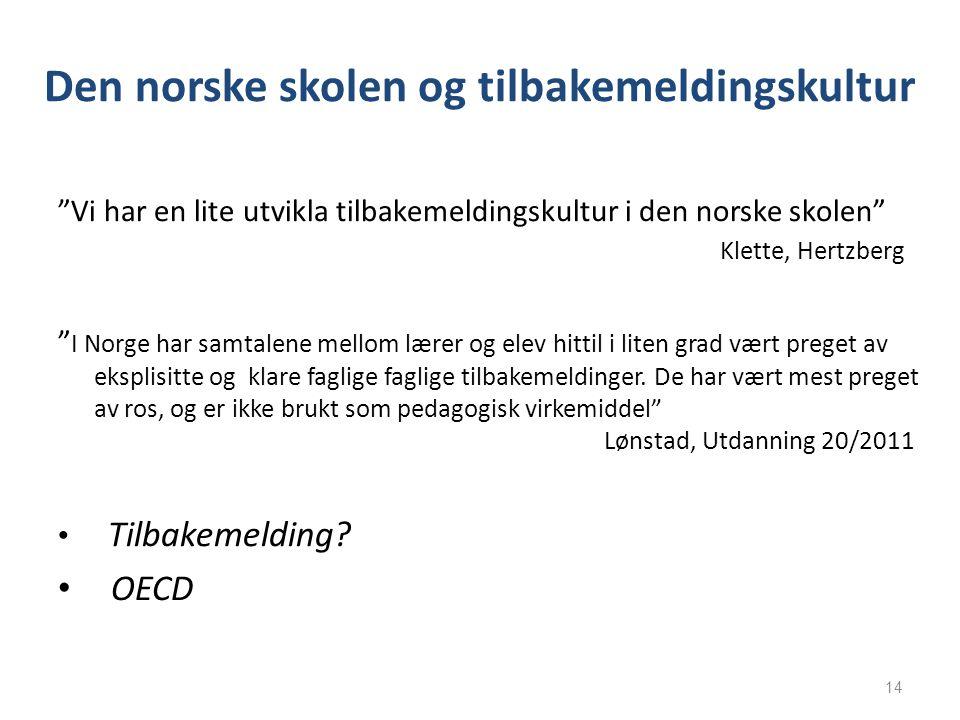 Den norske skolen og tilbakemeldingskultur