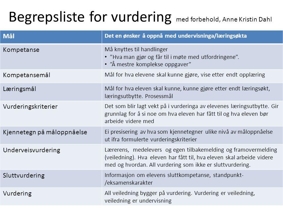 Begrepsliste for vurdering med forbehold, Anne Kristin Dahl