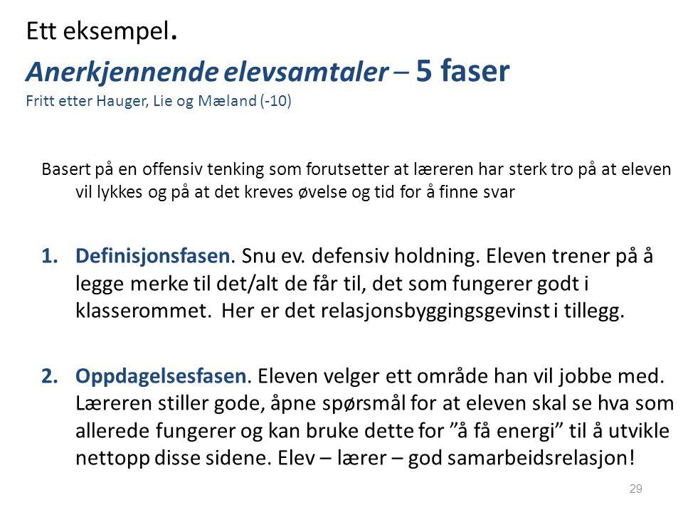 Ett eksempel. Anerkjennende elevsamtaler – 5 faser Fritt etter Hauger, Lie og Mæland (-10)