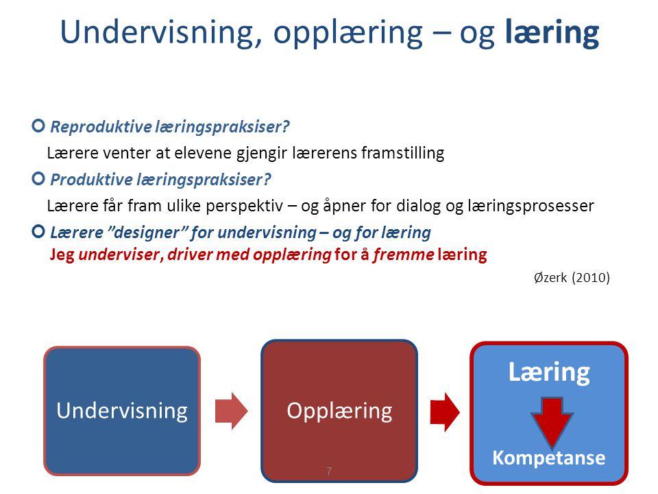 Undervisning, opplæring – og læring