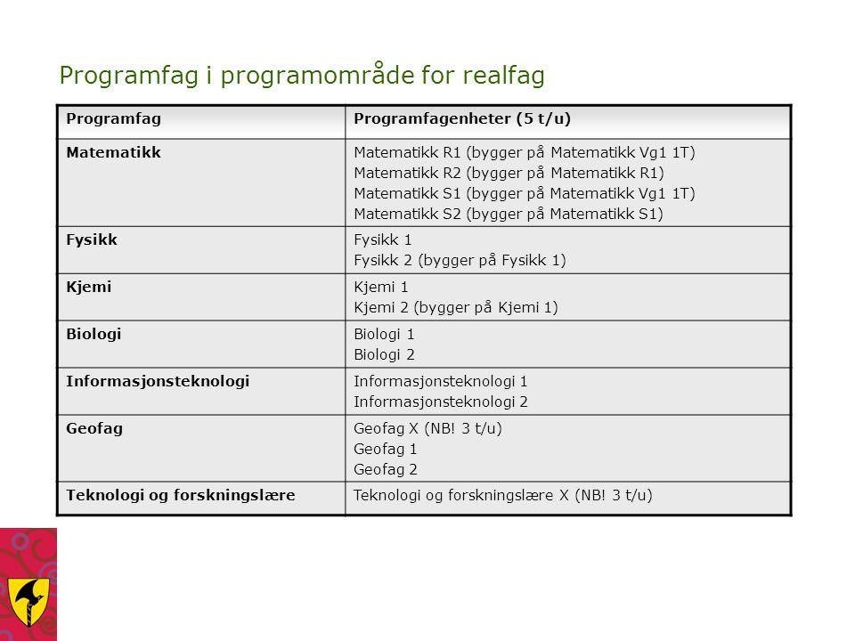 Programfag i programområde for realfag