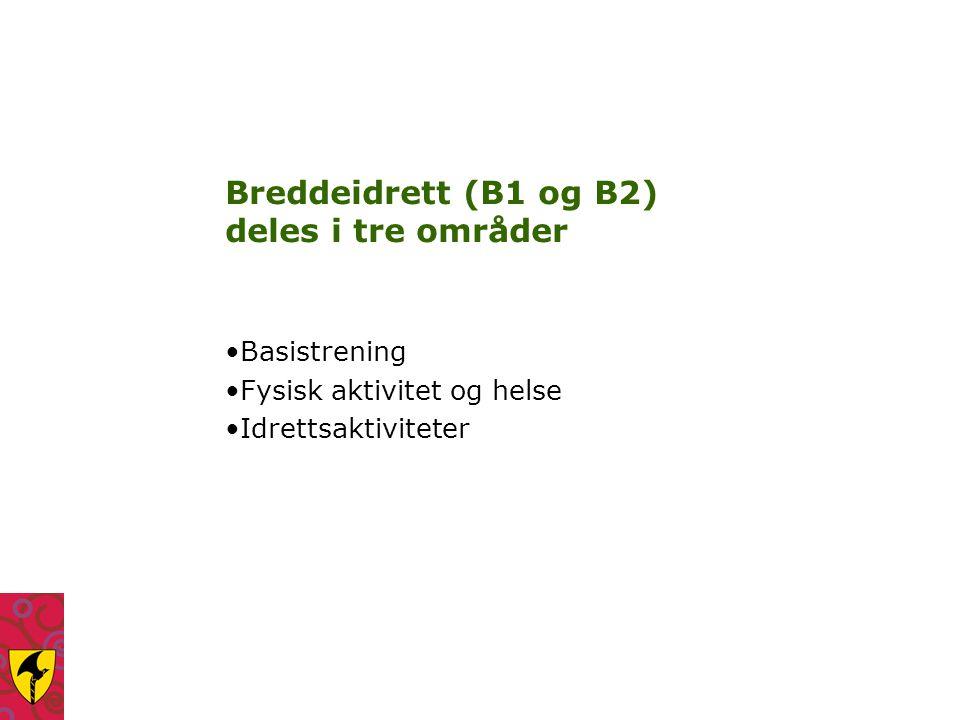 Breddeidrett (B1 og B2) deles i tre områder