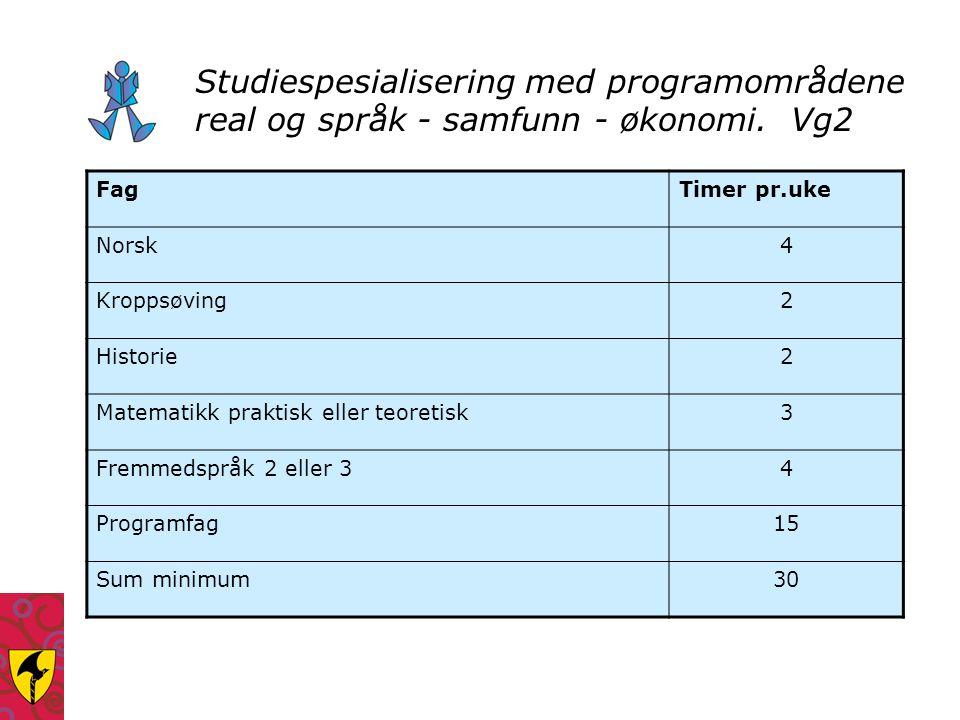 Studiespesialisering med programområdene real og språk - samfunn - økonomi. Vg2
