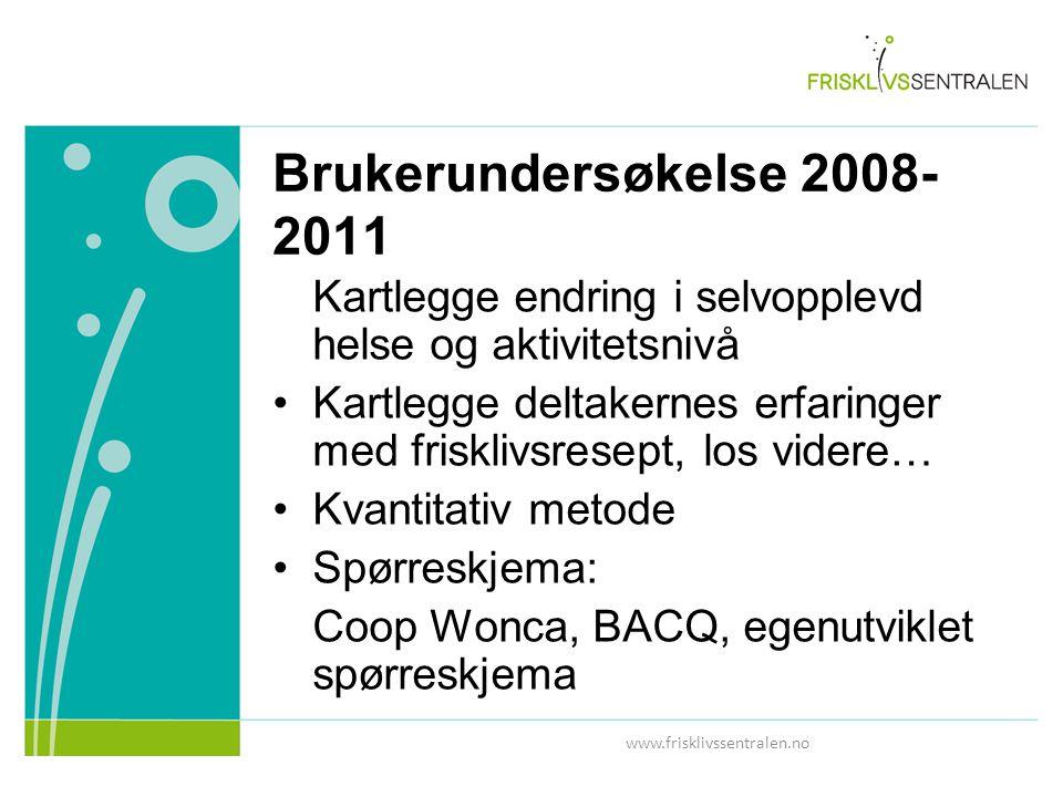 Brukerundersøkelse 2008-2011 Kartlegge endring i selvopplevd helse og aktivitetsnivå.