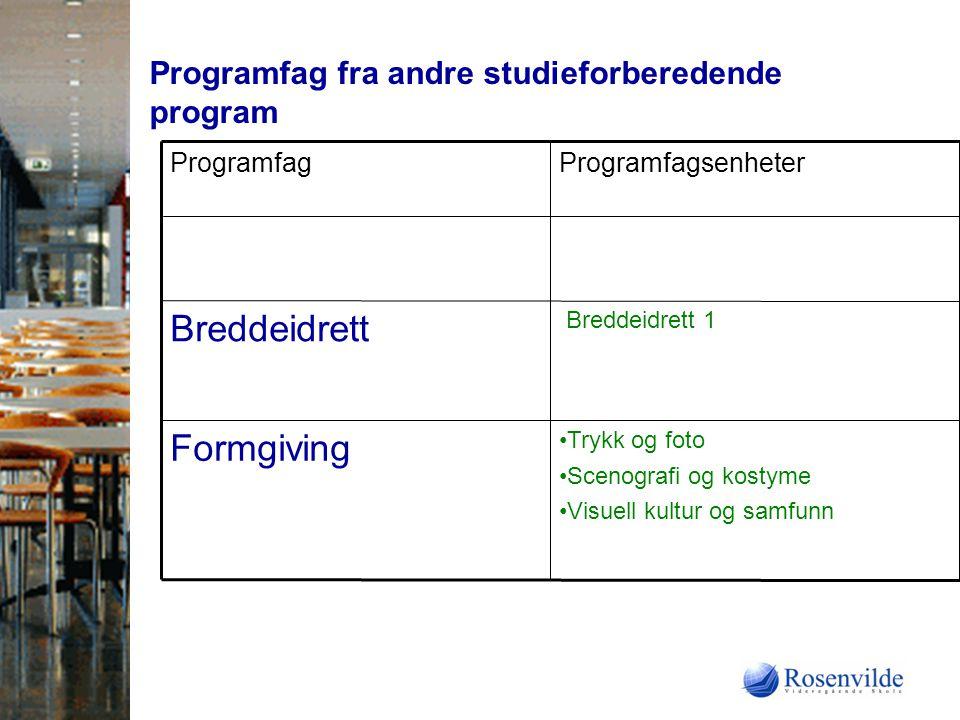 Programfag fra andre studieforberedende program