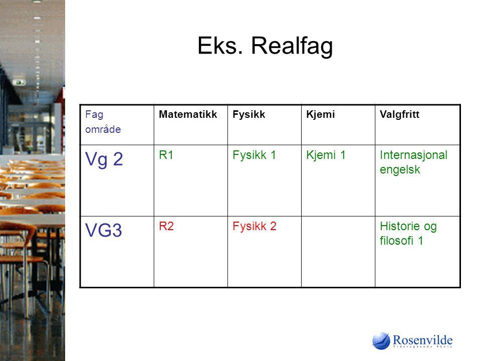 Eks. Realfag Vg 2 VG3 R1 Fysikk 1 Kjemi 1 Internasjonal engelsk R2