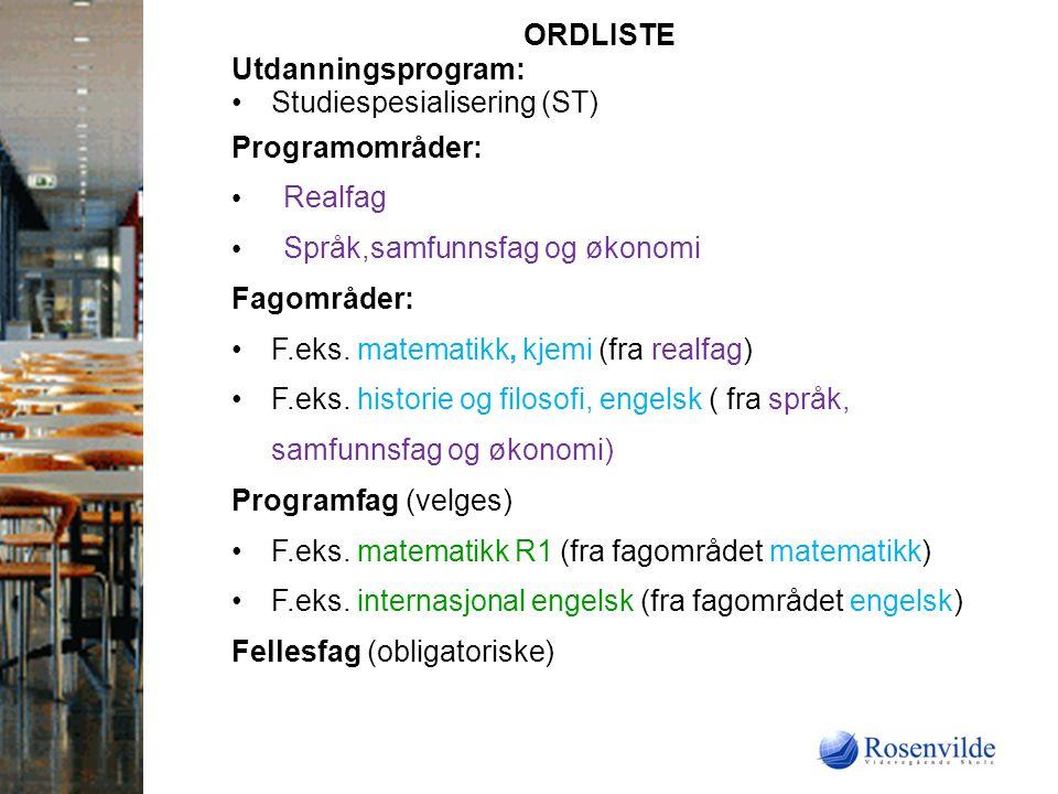 ORDLISTE Utdanningsprogram: Studiespesialisering (ST) Programområder: Realfag. Språk,samfunnsfag og økonomi.