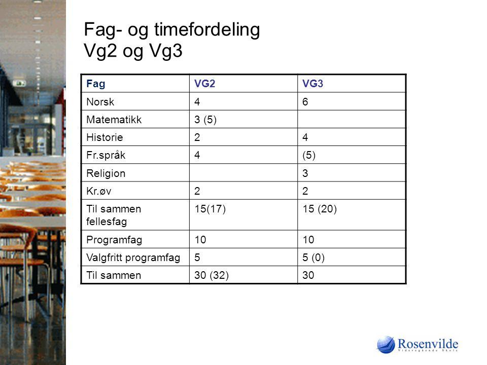Fag- og timefordeling Vg2 og Vg3