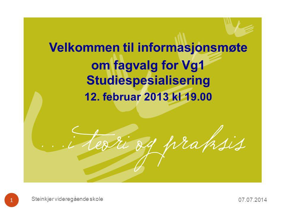 Velkommen til informasjonsmøte om fagvalg for Vg1 Studiespesialisering