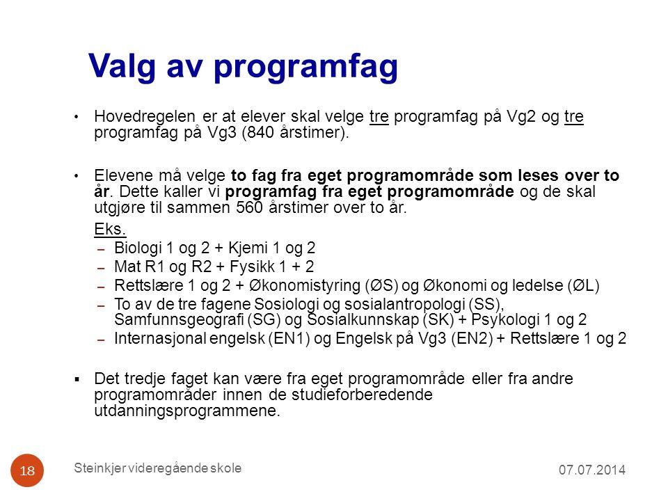 Valg av programfag Hovedregelen er at elever skal velge tre programfag på Vg2 og tre programfag på Vg3 (840 årstimer).