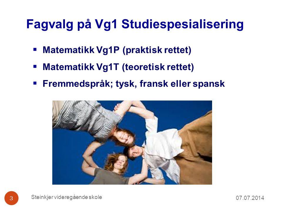 Fagvalg på Vg1 Studiespesialisering