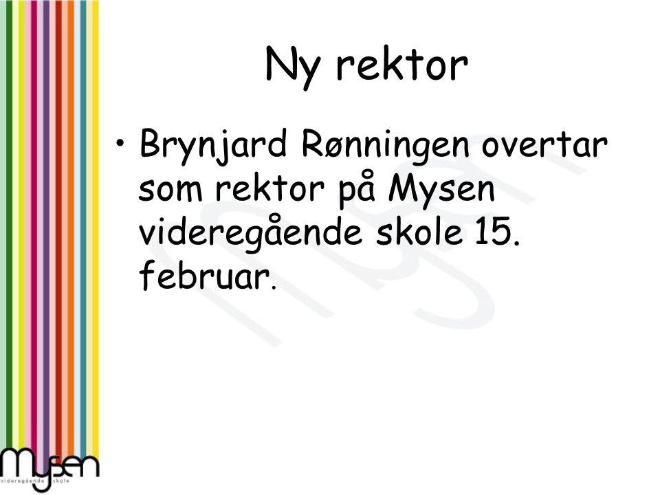Ny rektor Brynjard Rønningen overtar som rektor på Mysen videregående skole 15. februar.
