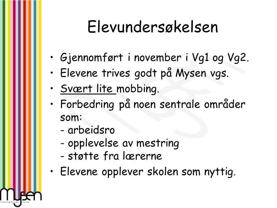 Elevundersøkelsen Gjennomført i november i Vg1 og Vg2.