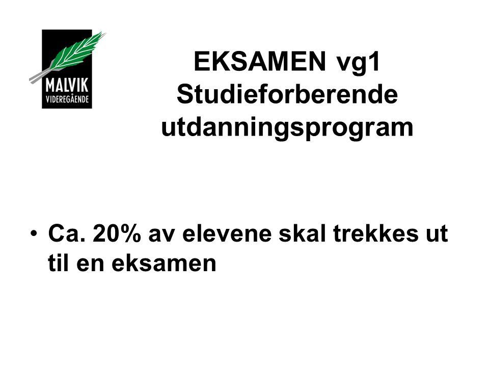 EKSAMEN vg1 Studieforberende utdanningsprogram