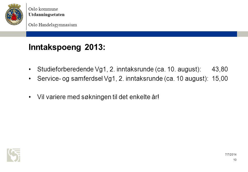 Inntakspoeng 2013: Studieforberedende Vg1, 2. inntaksrunde (ca. 10. august): 43,80.