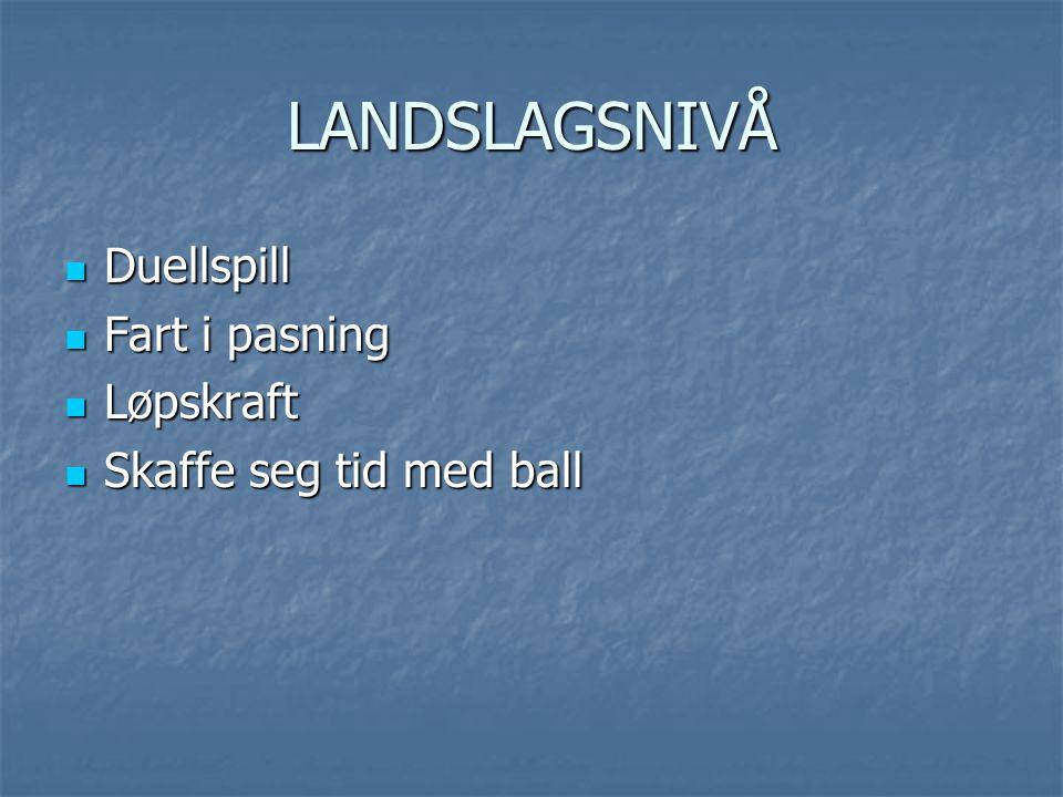 LANDSLAGSNIVÅ Duellspill Fart i pasning Løpskraft
