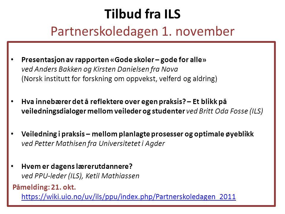 Tilbud fra ILS Partnerskoledagen 1. november