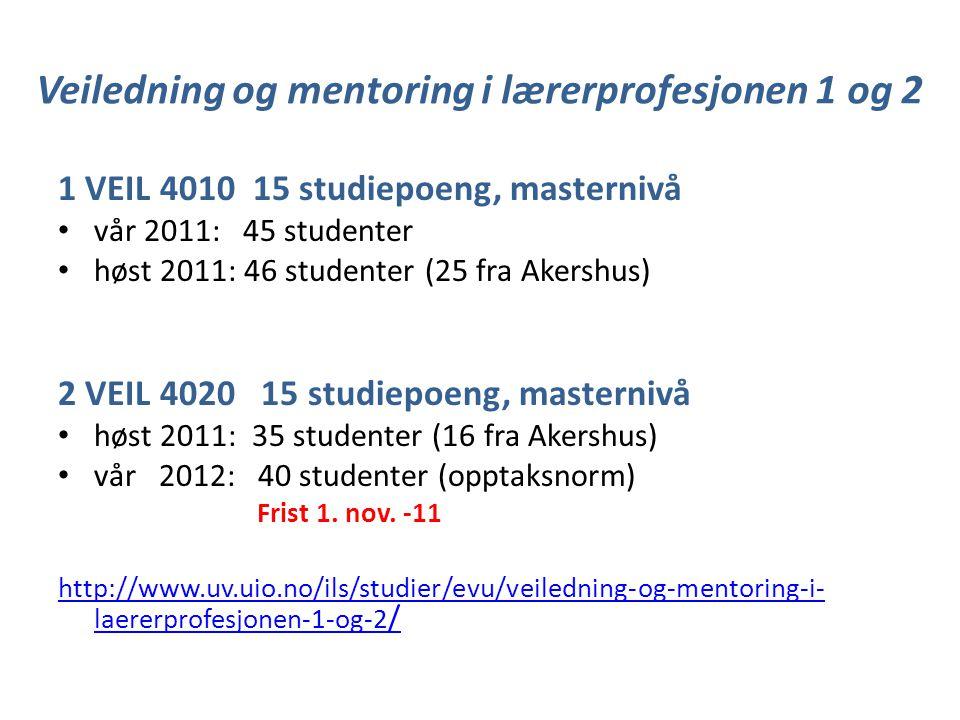 Veiledning og mentoring i lærerprofesjonen 1 og 2