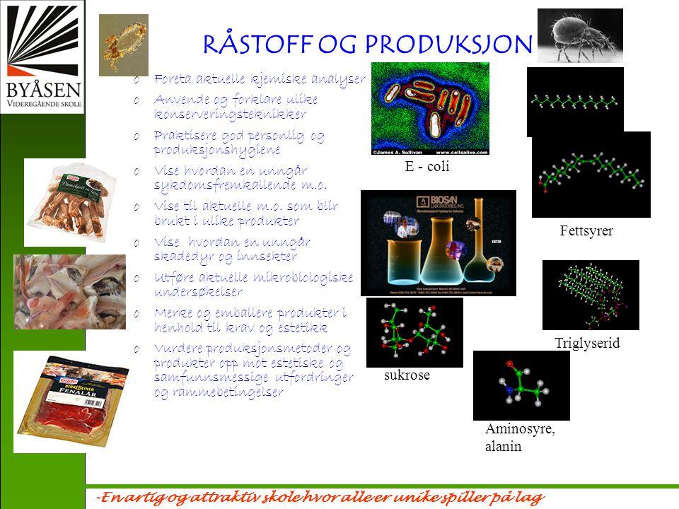 RÅSTOFF OG PRODUKSJON Foreta aktuelle kjemiske analyser