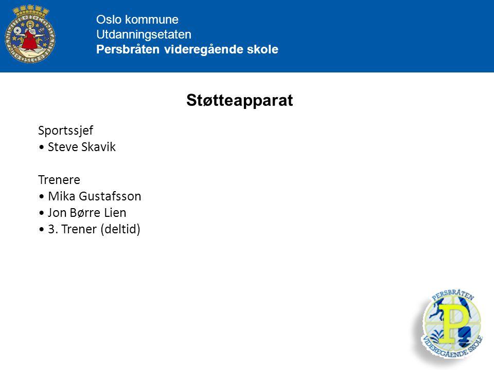 Støtteapparat Sportssjef Steve Skavik Trenere Mika Gustafsson