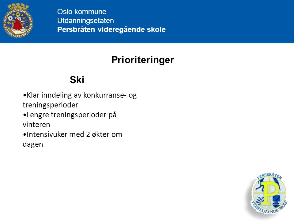 Prioriteringer Ski Klar inndeling av konkurranse- og treningsperioder
