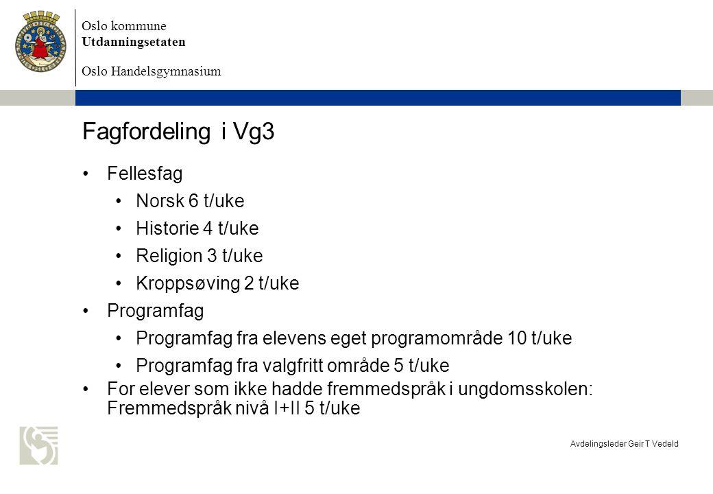 Fagfordeling i Vg3 Fellesfag Norsk 6 t/uke Historie 4 t/uke