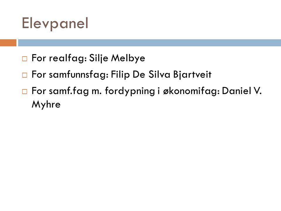 Elevpanel For realfag: Silje Melbye