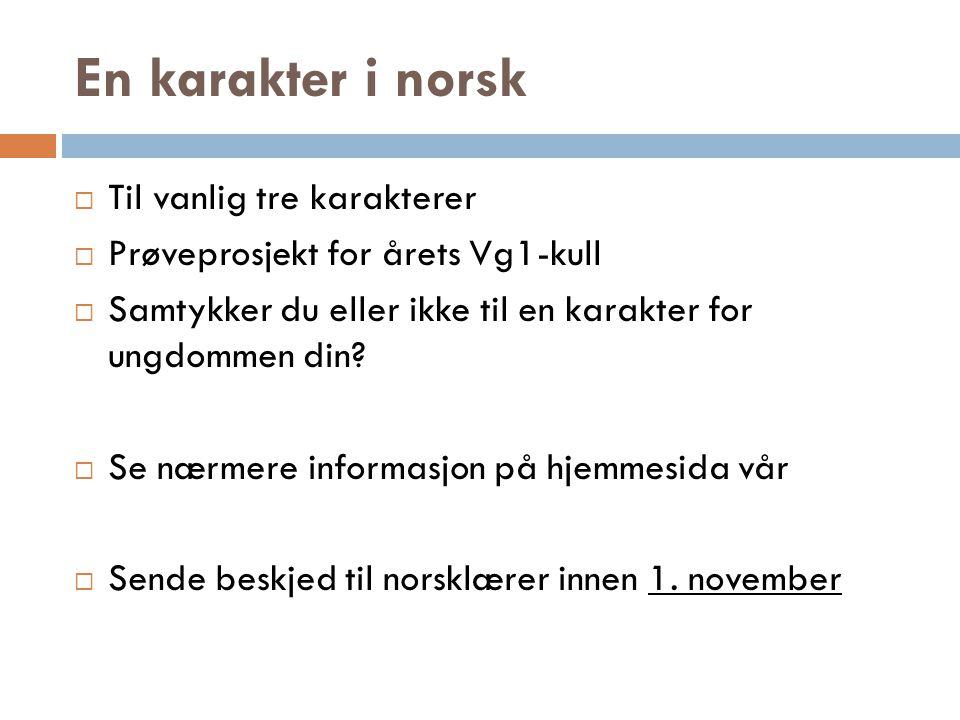 En karakter i norsk Til vanlig tre karakterer