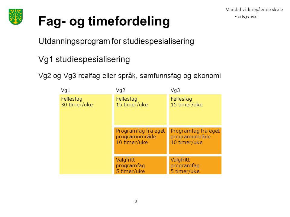 Fag- og timefordeling Vg1 studiespesialisering