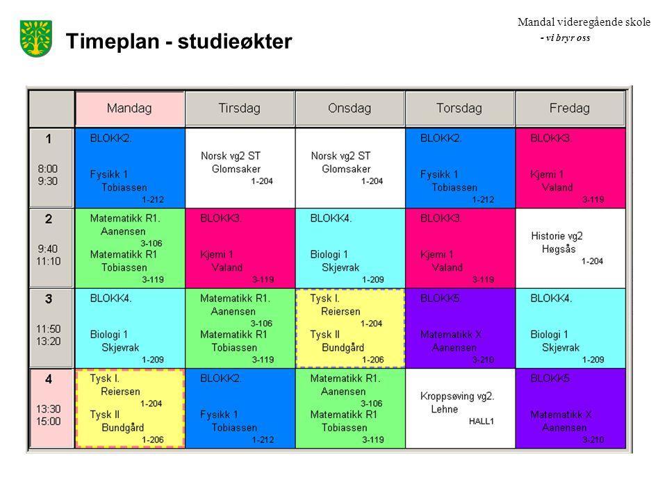 Timeplan - studieøkter