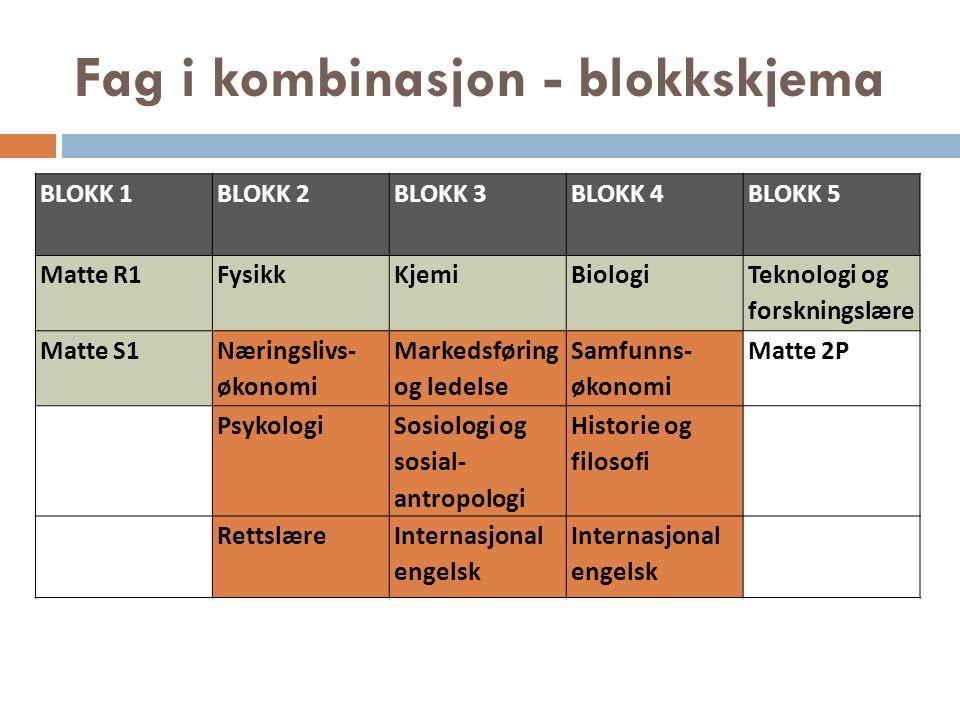 Fag i kombinasjon - blokkskjema