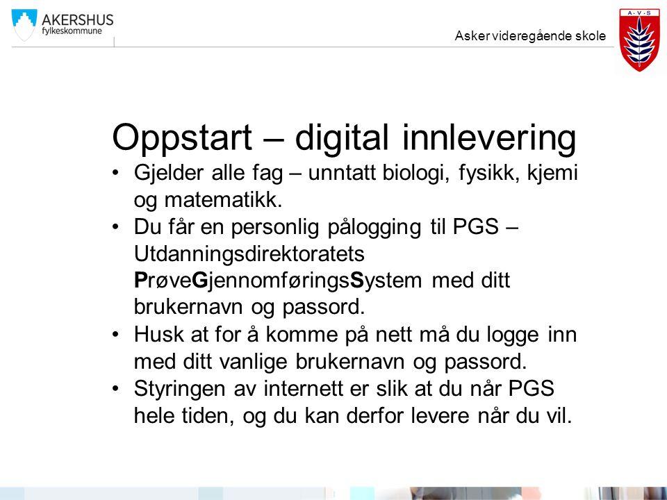 Oppstart – digital innlevering