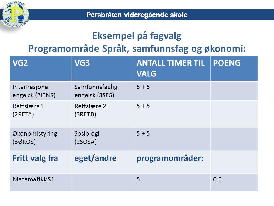 Eksempel på fagvalg Programområde Språk, samfunnsfag og økonomi: