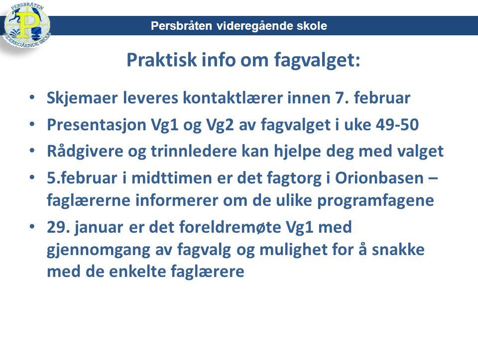 Praktisk info om fagvalget: