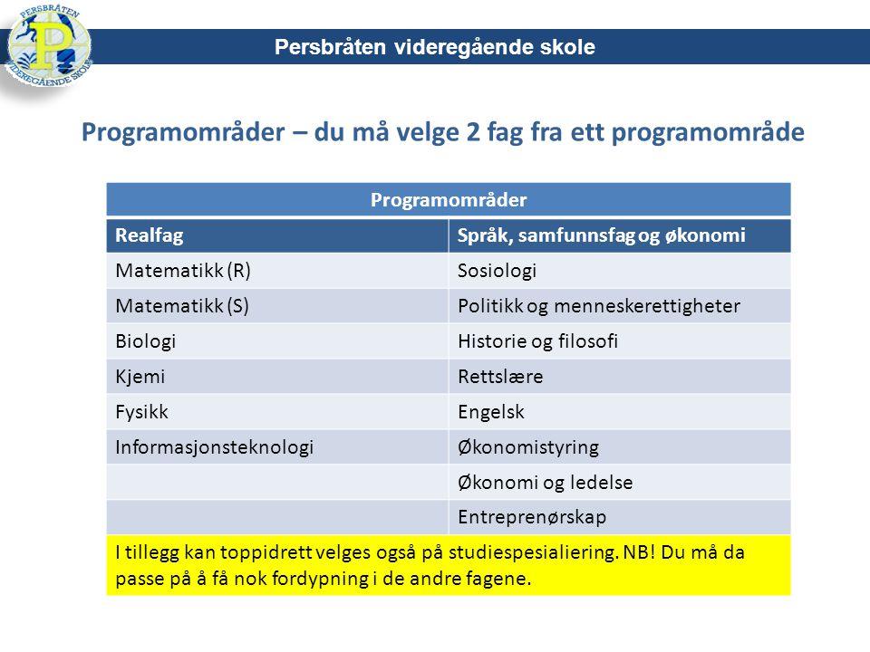 Programområder – du må velge 2 fag fra ett programområde