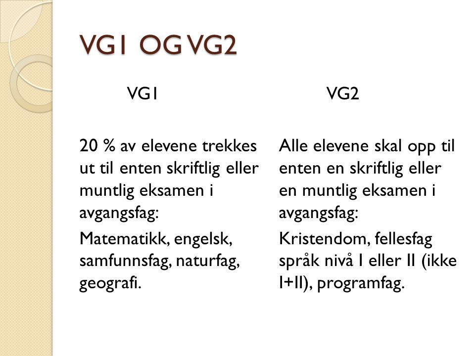 VG1 OG VG2 VG1. 20 % av elevene trekkes ut til enten skriftlig eller muntlig eksamen i avgangsfag: