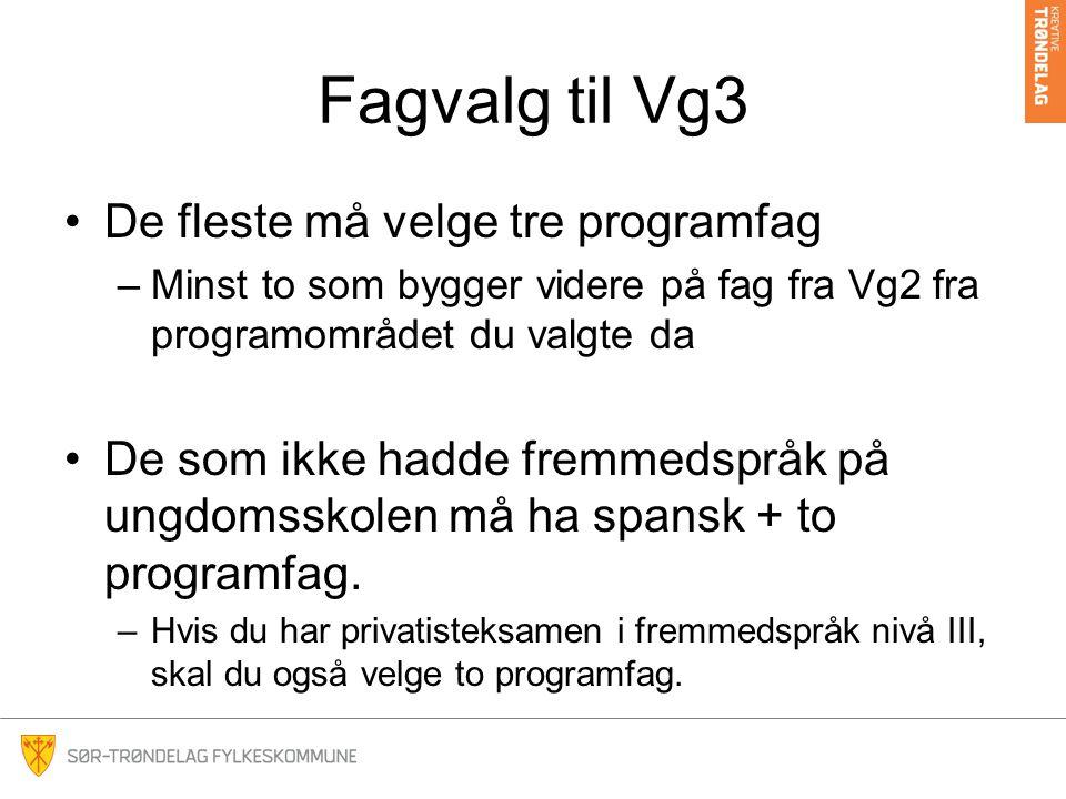 Fagvalg til Vg3 De fleste må velge tre programfag