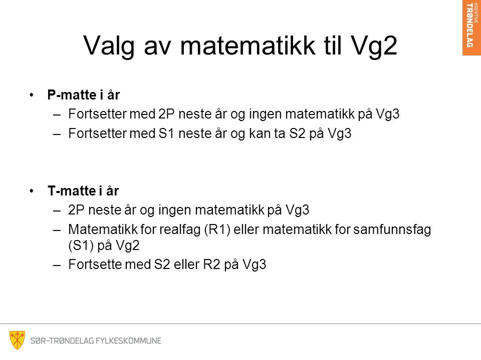 Valg av matematikk til Vg2