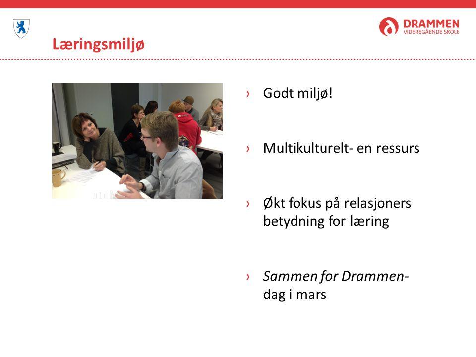 Læringsmiljø Godt miljø! Multikulturelt- en ressurs