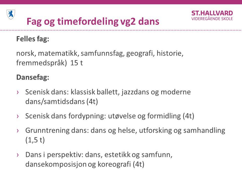 Fag og timefordeling vg2 dans