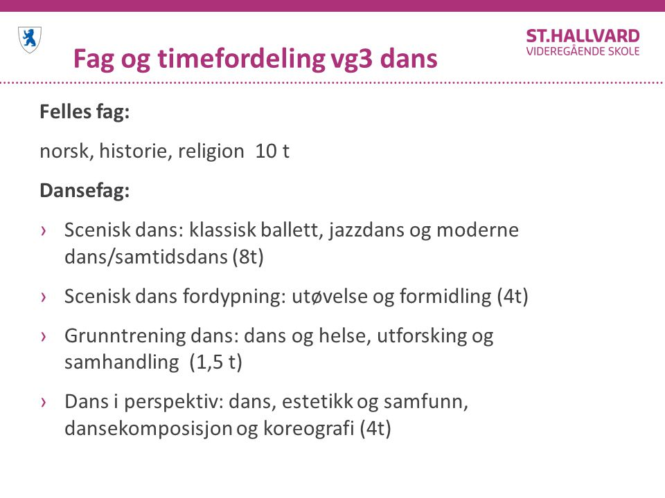 Fag og timefordeling vg3 dans