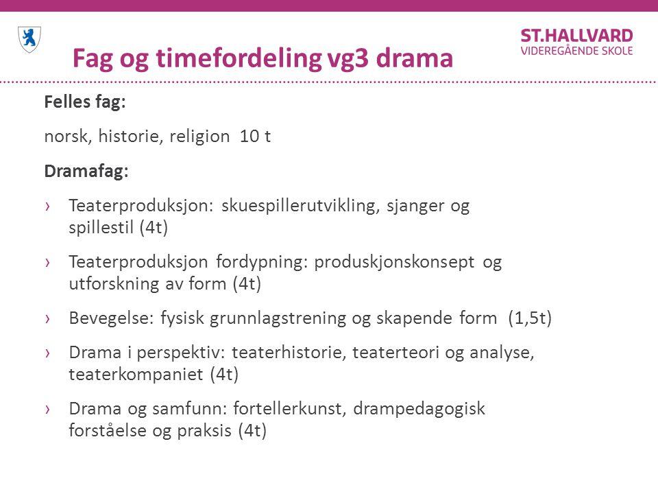 Fag og timefordeling vg3 drama